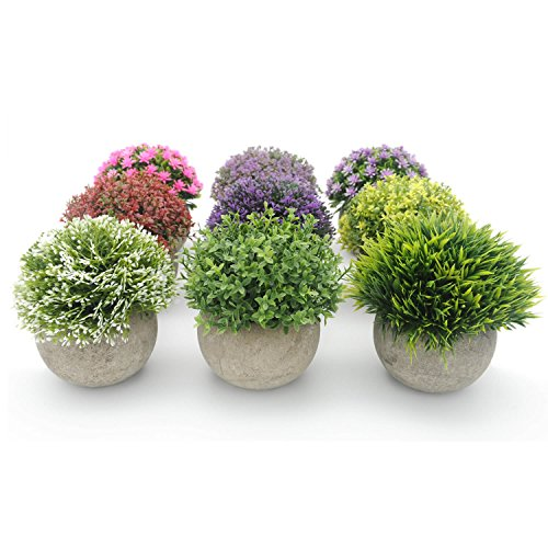 Velener mini plastic artificial plants benn grass in pot for Home decor with plants