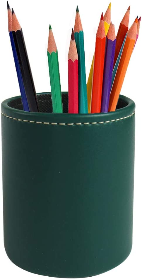 LIZIMANDU Leather Office Pencils Holder,Round Pen Cup Remote Desk Accessories Organizer Desktop Stationery Container Box for Home Office Bedroom(1 Pack,1-Green2)