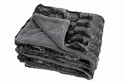 Chanasya Super Soft Fuzzy Fur Elegant Faux Fur Rectangular Embossed Pattern With Fluffy Plush Sherpa Cozy Warm Throw Blanket