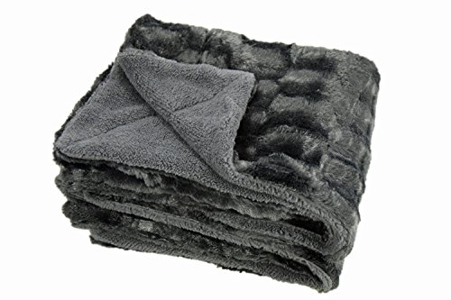 Chanasya Super Soft Fuzzy Faux Fur Elegant Rectangular Embossed Throw Blanket