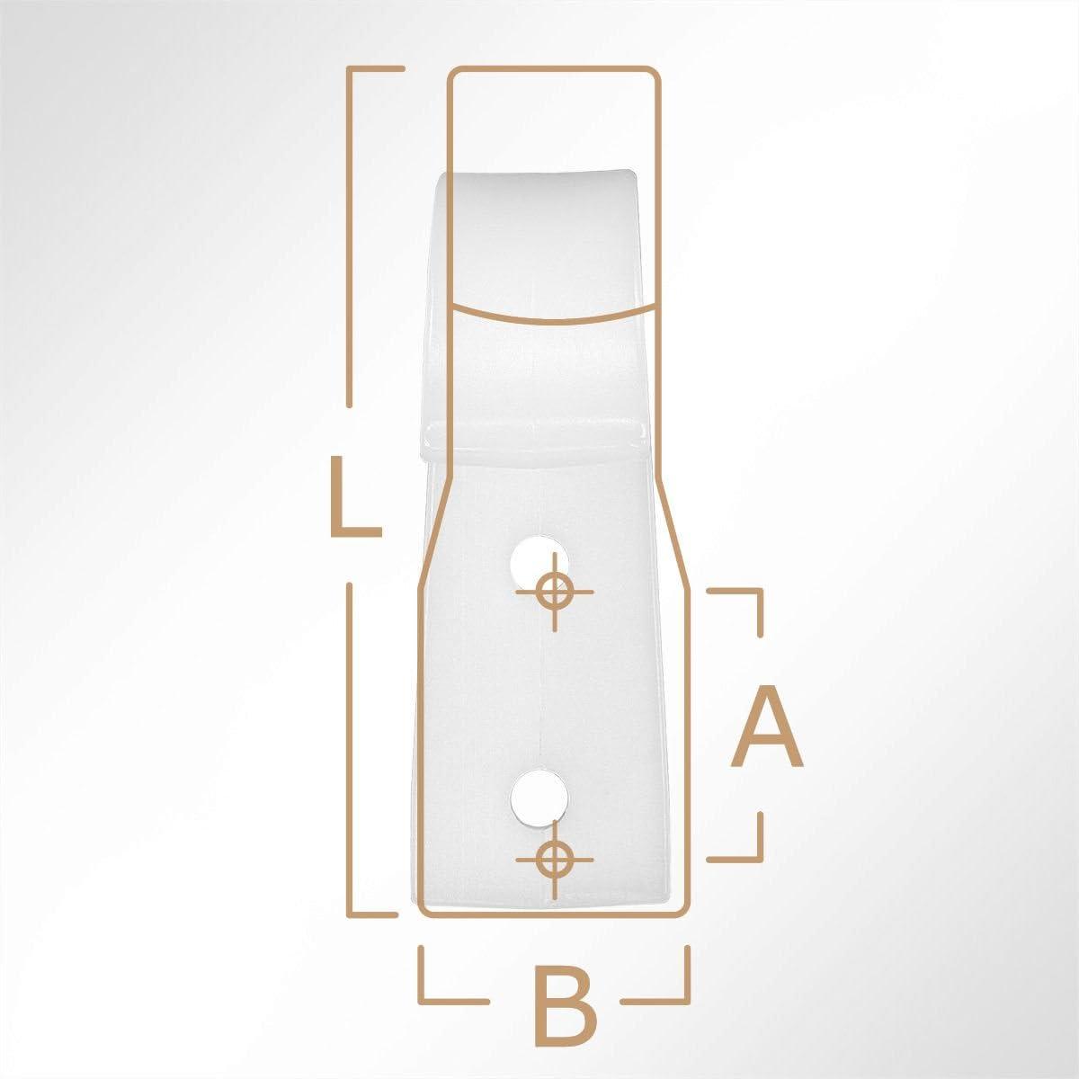 BxL 20x63mm in Wei/ß 10 St/ück LYSEL Kunststoff Planenhaken offen,
