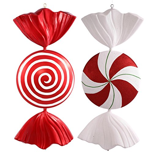 (Vickerman M110924 Peppermint Spiral Shiny Candy Ornament with Shatterproof & Secure Cap, 37