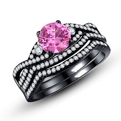Round Pink Cubic Zirconia Wedding/Engagement Ring Sterling Silver Black Plated (Sizes 5-10)