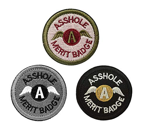 "Antrix Round Asshole Patches, 3 Pack Asshole Merit Badge Military Tactical Morale Patches(Large,Diameter 3.15"")"