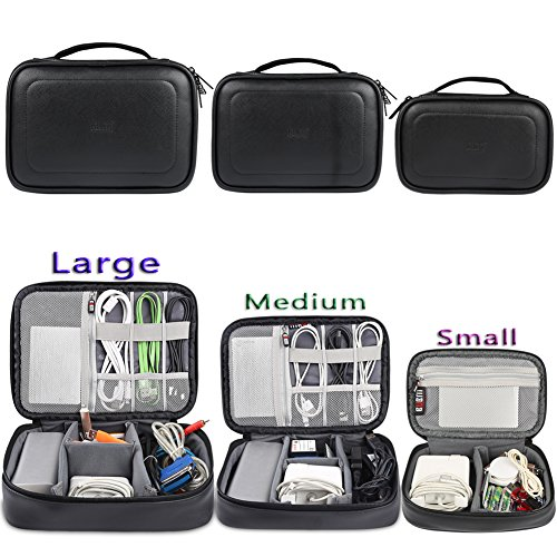 BUBM 3pcs Travel Electronics Accessories Organizer, Portable Gadget Carrying Bag for Cables, USB Flash Drive, Memory Cards, Power Bank, and more-PU Leather, Black (Portable Electronics Gadgets)