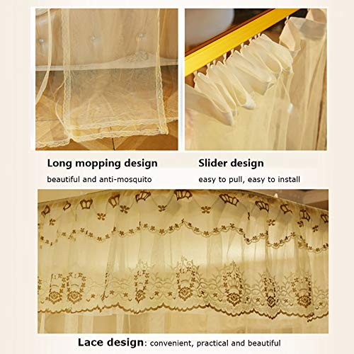 360° Protection Mosquito Nets Bed Canopy Lace Side Princess Net Tent U-Guide Easy Installation Anti-Mosquito Home Decorative,Red,150200CM by LINLIN MOSQUITO NET (Image #1)