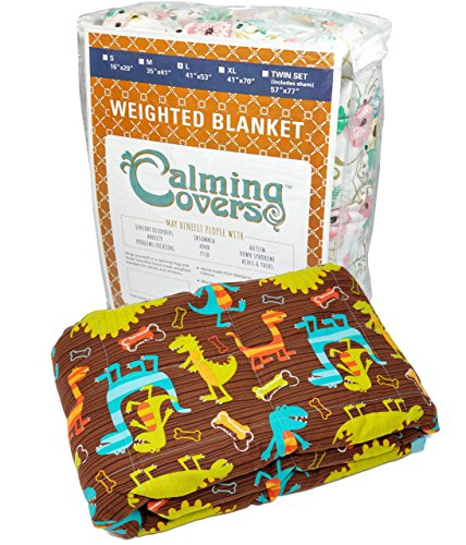 Designer Weighted Blanket for kids (or adult) | Dozens of cute styles in many sizes | Gravity blankets may help relieve anxiety, stress & insomnia | Style - Brown Dinosaurs | Cotton - 6 lbs by The Swanky Stitchery