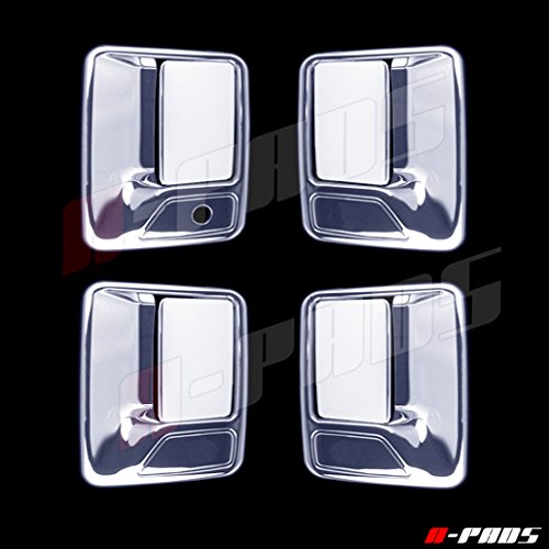 05 Chrome Door Handles (A-PADS 4 Chrome Door Handle Covers For Ford F-250, F-350, & F-450 + Super Duty 1999-2016 - WITHOUT Passenger Keyhole)