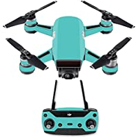 Skin for DJI Spark Mini Drone Combo - Solid Turquoise| MightySkins Protective, Durable, and Unique Vinyl Decal wrap cover | Easy To Apply, Remove, and Change Styles | Made in the USA