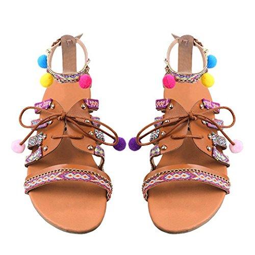 fiesta de Sandalias sandalias planas casual baratos de cordones verano Bohemia moda Switchali mujer Vendaje Zapatos Señora vestir mujer zapatos tacon 2017 para MarróN Strappy OSOqx6PAw