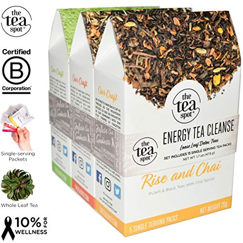 THE TEA SPOT, Energy Tea Cleanse: 15 Simple Steeps Loose Leaf Tea Packets   Black Chai Tea, Citrus Green Tea & Organic Matcha   Net Tea wt: 1.7 oz Review
