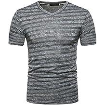 Challyhope Men's Summer Tee Fashion Casual Stripe Print V Neck Pullover T-Shirt Tops