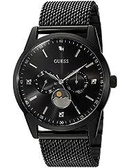 GUESS Mens Stainless Steel Mesh Dress Watch, Color: Black (Model: U0869G1)