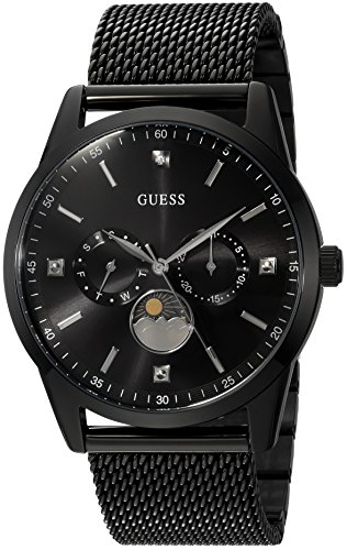 GUESS Men's Quartz Stainless Steel Dress Watch, Color:Black (Model: U0869G1)