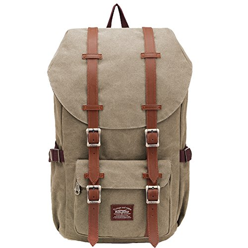 "KAUKKO Laptop Outdoor Backpack, Travel Hiking& Camping Rucksack Pack, Casual Large College School Daypack, Shoulder Book Bags Back Fits 15"" Laptop & Tablets (Ckhaki)"