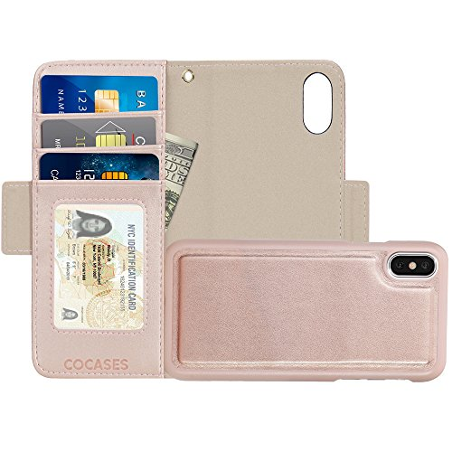 COCASES Wallet Case Compatible iPhone X, iPhone 10, Flip Folio Detachable PU Leather Magnetic Kickstand Cover Card Slot Cash Pocket Wrist Strap (5.8 Rose Gold)