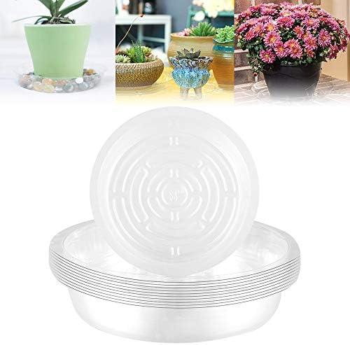 Ronde bloempot onderzetter 681012 inch plantenpot schoteltjes indoor duurzame transparante plantenonderzetter van dikke en sterke kunststof16192631 cm transparant 8 inch 10 stuks