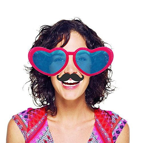 6 Pcs Colorful Jumbo Novelty Heart Shaped Sunglasses with 20 Pcs Photo Booth Props,Party Sunglasses for Adults/Kids,Raves,Halloween Costumes Cosplay,Masquerade Balls,Party Favor(Random Color) (Gangsters Dress Up)