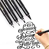 Refill Brush Marker Pens for Lettering - 4 Size Black Calligraphy Ink Pen for Beginners Writing, Signature, Illustration, Design