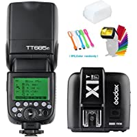 Godox TT685F TTL 2.4G GN60 High-Speed Sync 1/8000S Flash Speedlite light+Godox X1T-F Wireless Trigger Transmitter for Fujifilm Camera +Diffuser & Filter +USB LED Free Gift