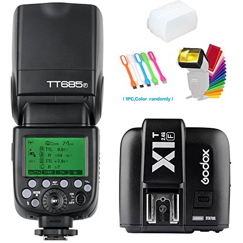 Godox TT685F TTL 2.4G GN60 High-Speed Sync 1/8000S Flash Speedlite light+Godox X1T-F Wireless Trigger Transmitter for Fujifilm Camera +Diffuser & Filter +USB LED Free Gift by Godox