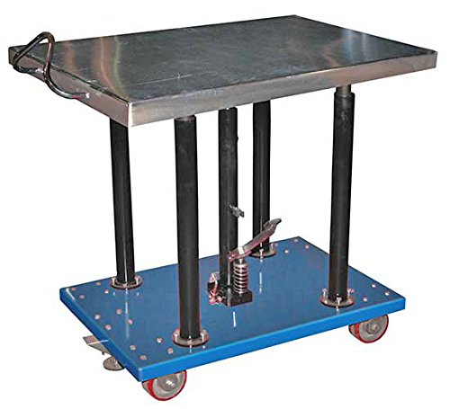 Stainless Steel Work Table - BHT Series; Platform Size (W x L): 30'' x 36''; Capacity (LBS): 2,000; Service Range: 54'' to 36''; Number of Posts: 4; Caster Type: 5'' x 1-1/2'' Poly-on-Steel