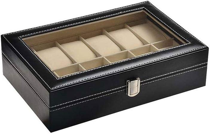 0LL Caja Cuero Espacio Caja para Relojes Cajas Organizadores Estuche Relojes, para 12 Relojes Vidrio Transparente Interior Fieltro Suave Organizador Viaje Estuche de Regalo (Color : Black): Amazon.es: Hogar