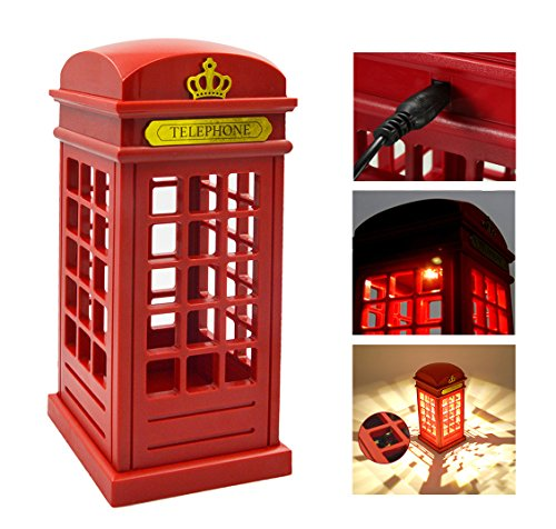 Anpress Vintage London Telephone Booth Designed USB Charging LED Night Lamp Touch Dimmable Table Desk Light for Home Office Bar Decoration (Telephone Booth) British Isle Bedroom