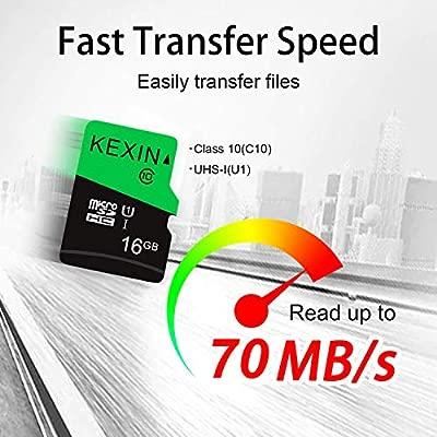KEXIN TF Tarjeta de Memoria Micro SD de 16 GB MicroSDHS de hasta 70 MB/s, Tarjeta Externa UHS-1 Class 10 para Cámara Deportiva, IPC Cámara, ...