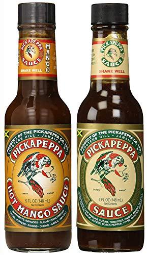 Pickapeppa HOT MANGO and ORIGINAL BROWN Pepper Sauce 5oz (Pack of ()