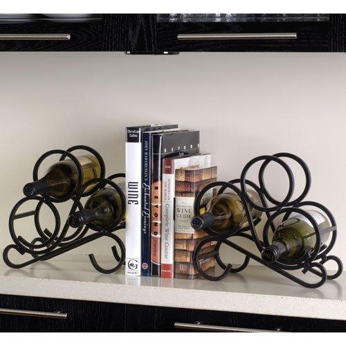 3 Bottle Bookend Wine Rack - Scroll Wine Rack Bookends - Set of 2 in Black