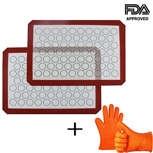 INCHANT Silicone Macaron Baking Mat with Silicone Oven Gloves, Non Stick Silicone Liner for Bake Pans/Cookie/Bun/Pastry Making, Multipurpose Toaster Oven Liner, Microwave And Dishwasher Safe, 2 PCS