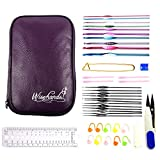 "Wisehands Crochet Hook Set with 22 Pcs Hooks, Scissors, Stitch Markers, Gauge Measure, Yarn Needles, 4.5"" Safety Pin and 2 Row Counters in a Purple Case"