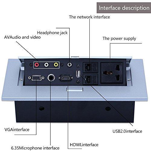 E-best Multimedia Pop up Desktop Power Office Hidden Desktop Socket Multi Outlet with HDMI /VGA /AV / Audio / Universal Power Socket / USB2.0 / 2 Network / 6.35 Mic Interface by Ebest (Image #2)