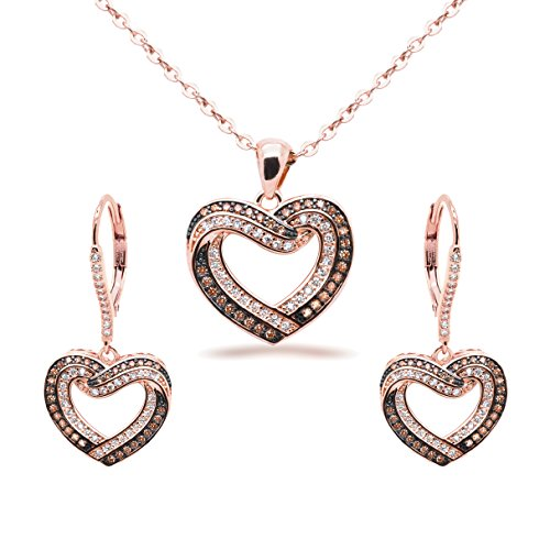Jewelry Set Chocolate CZ Heart Pendant Necklace Matching Dangle Earrings Rose Gold-Flashed Women, 18 in