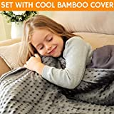 Snuggle Pro Weighted Blanket for Kids - 7 lbs Heavy Blanket for Sleeping, 41''x60'' - Set with Cool Bamboo & Minky Reversible Cover - Great Comfort for Children - Sensory Calming Weighted Blanket