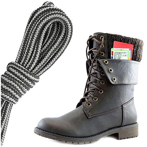 Dailyshoes Dames Militaire Veter Gesp Enkellaarsjes Middenkalf Vouwsluiting Exclusief Creditcardvak, Zwart Donkergrijs Bruin Pu