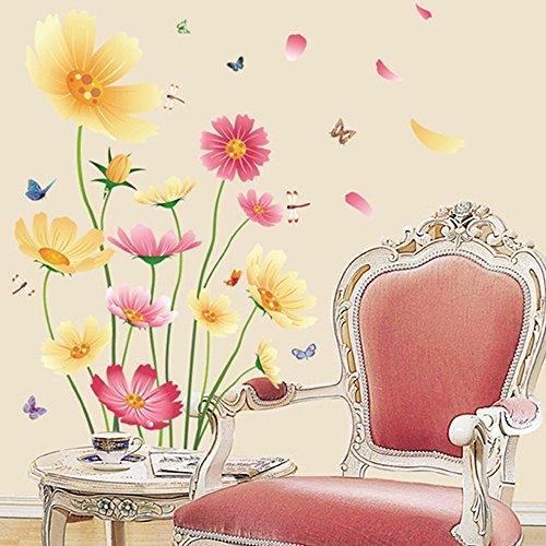 Chrysanthemums Flowers Butterflies Dragonflies Wall Decal Garden PVC Home Sticker House Vinyl Paper Decoration WallPaper… 2
