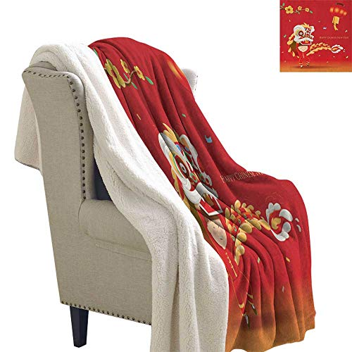 Suchashome Chinese New Year Queen Blanket Little Boy Performing Lion Dance with The Costume Flowering Branch Lantern Lightweight Microfiber Blankets 60x78 Inch Multicolor ()