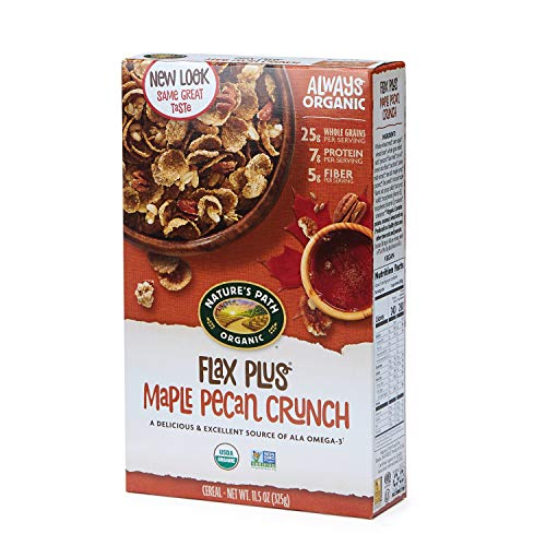 Path Natures Cereal Flax - Nature's Path Flax Plus Maple Pecan Crunch Cereal, Healthy, Organic, 11.5 Ounce Box (Pack of 6)
