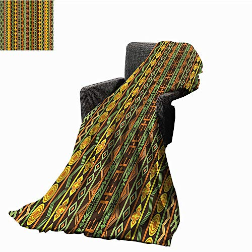 smllmoonDecor Ethnic Faux Fur Throw Blanket African Pattern with Geometric Figures Folk Cultural Abstract Art Print Ultra Soft and Warm Hypoallergenic 54