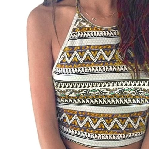 (Qisc Women Bohemian Printed Halter Neck Sleeveless Tank Tops Bustier Bra Vest Crop Bralette Cami (Yellow, S))