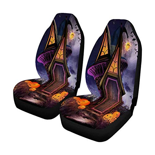 InterestPrint Halloween Fantasy Hut Pumpkins Moon Auto Seat Covers Full Set of 2, Car Front Seat Cushion Fit Car, Truck, SUV or Van ()