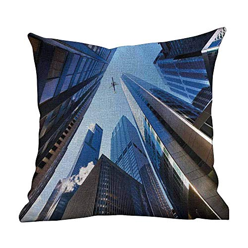 Matt Flowe boppy Pillow Covers for Girl,Urban,Looking Up at Chicagos Skyscrapers in Financial District American City Picture,Blue Silver,Pillow Cases Soft and Confortable16 x16