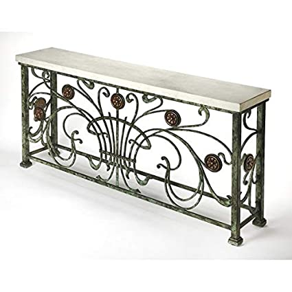 the latest b4ae7 ad8e4 Amazon.com: Metal Console Table with Stone Top - Rectangular ...