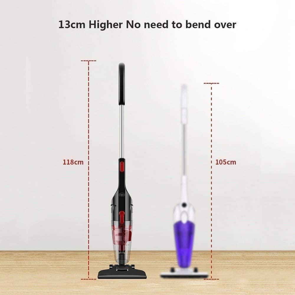 Mopoq 2-in-1 600W léger bâton Aspirateur à main Aspirateurs Corded avec 15kPa forte aspiration for sol Tapis Pet cheveux (couleur, blanc), Blanc (Color : Noir) Noir