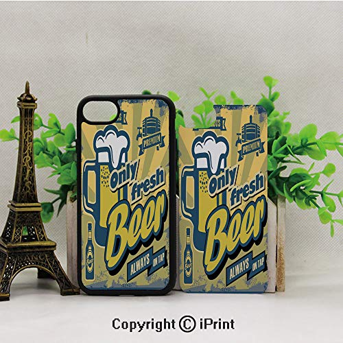 Cell Phone Case for iPhone7/8,Delicious-Fresh-Premium-Beer-Old-Fashion-Graphic-Design-Bottle-Keg-Mug-Foam-Decorative,for Running,Walking,Hiking