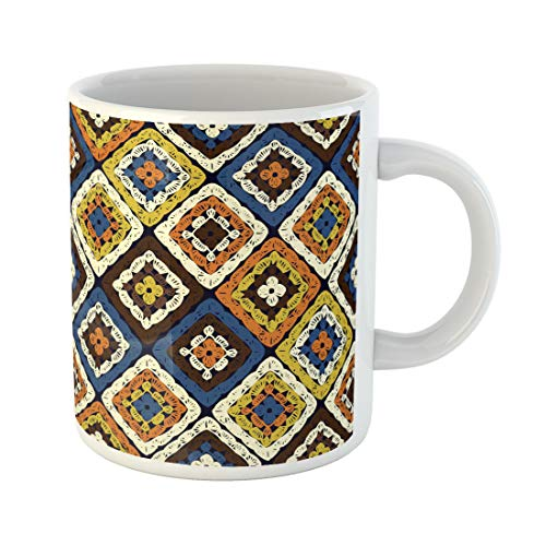 Semtomn Funny Coffee Mug Granny Squares Pattern and Ripples Afghan Crochet of Multicolored 11 Oz Ceramic Coffee Mugs Tea Cup Best Gift Or -
