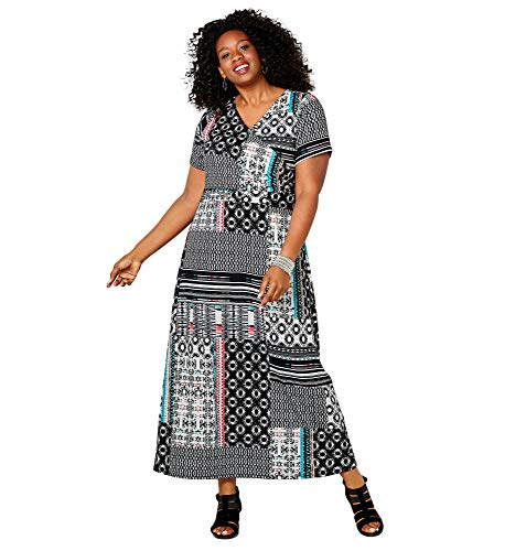 Avenue Women's Short Sleeve Abstract Print Maxi Dress, 18/20 Black Multi