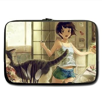 """Anime y gato funda de neopreno para portátil 17 """". Diseñado para cualquier ordenador"""